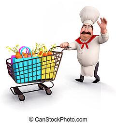 chef, carrello, verdura