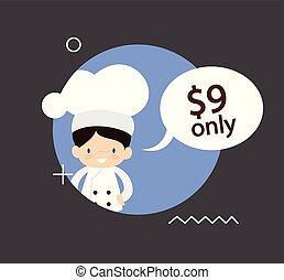 chef, -, cartone animato, carino, prezzo