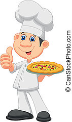 chef, cartone animato, con, pizza