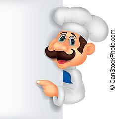 chef, cartone animato, con, segno bianco