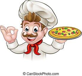 chef, cartone animato, pizza