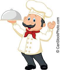 chef, cartone animato, presa a terra, piatto da portata