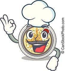 Chef cartoon buchimgae on a in plate