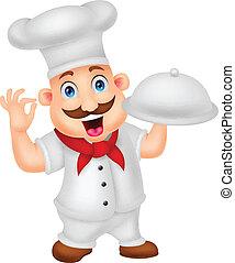 chef cartoon character - vector illustration of chef cartoon...
