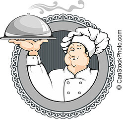 Cartoon chef carrying dinner plate with perfect meal.
