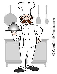 Chef - Cartoon chef is presenting a covered meal