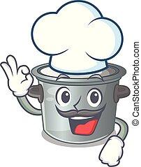 Chef cartoon cookware stock pot in kitchen vector...