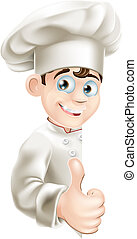 Chef cartoon giving thumbs up sign - An illustration of a...