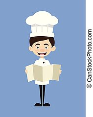 Chef Cartoon - Holding a Folded Paper Banner