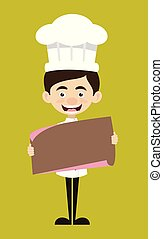 Chef Cartoon - Holding a Paper Banner