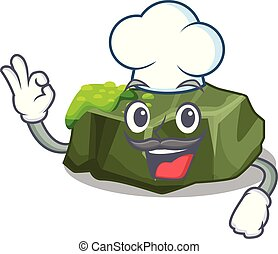 Chef cartoon moss grow on sea rock