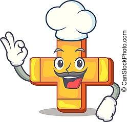 Chef cartoon plus sign logo concept health
