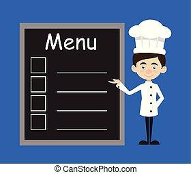 Chef Cartoon - Presenting Menu List