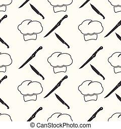 chef , cartoon seamless pattern background