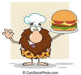 Chef Caveman Holding A Big Burger