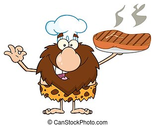 chef, cavernícola, con, asado parrilla, filete