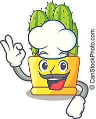 Chef cereus cactus bouquet on character cartoon