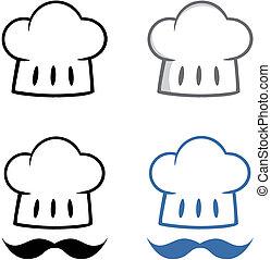 chef, chapeau, collection, mustache.