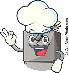 Chef character deep fryer on restaurant kitchen vector...