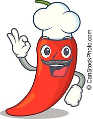 Chef character red chili pepper for seasoning food