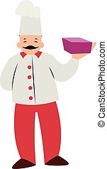 Chef character with a purple box vector illustration on a white background