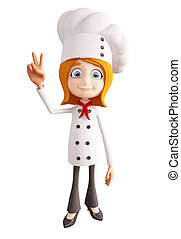 Chef character with victory sign