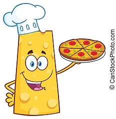 Chef Cheese Cartoon Mascot Character Holding A Pizza