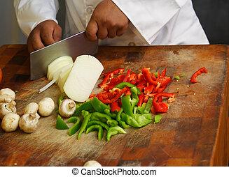 chef, chiudere, verdura, fare pezzi