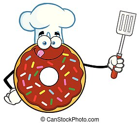 Chef Chocolate Donut Cartoon Mascot Character With Sprinkles Holding A Slotted Spatula