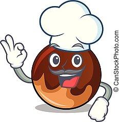Chef chocolate donut character cartoon