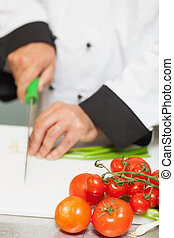 Chef chopping spring onions