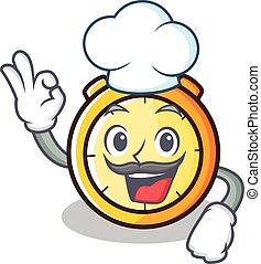 Chef chronometer character cartoon style