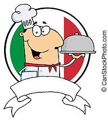 chef, cibo, maschio, servire, cartone animato
