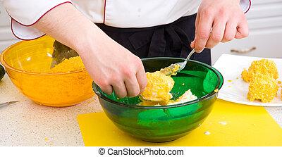 chef, cibo, preparare