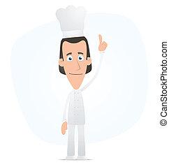 chef, cima, el suyo, dedo, puntos