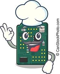Chef circuit board pcb in cartoon shape vector illustration