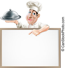 A cartoon chef character holding a silver platter and pointing at a sign