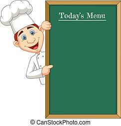 chef, cloche, caricatura, señalar