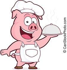 chef, cloche, plata, tenencia, cerdo