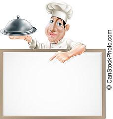 chef, cloche, y, menú