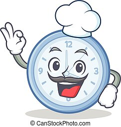 Chef clock character cartoon style