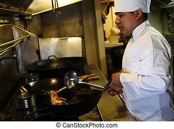 chef, cocina, 3