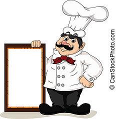 chef, cocinero, con, blanco, tabla