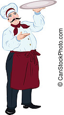 chef, cocinero, con, un, bandeja
