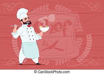 chef, cocinero, placa de valor en cartera, con, sopa caliente, sonriente, caricatura, jefe, en, blanco, restaurante, uniforme, encima, de madera, textured, plano de fondo