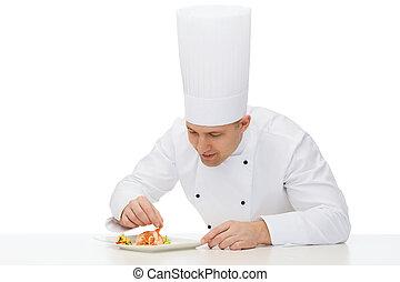 chef, cocinero, plato, decorar, macho, feliz