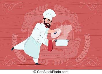 chef, cocinero, tenencia, cazo, con, sopa caliente, sonriente, caricatura, jefe, en, blanco, restaurante, uniforme, encima, de madera, textured, plano de fondo