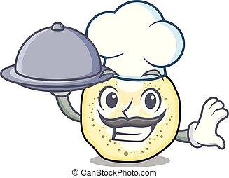 chef, con, alimento, berenjena, rebanadas, en, un, caricatura, sartén