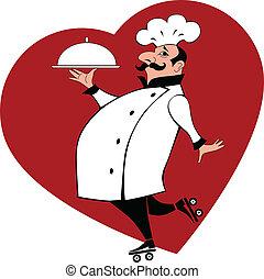 chef, con, alimento