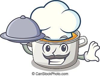 chef, con, alimento, olla de cocina, de, sopa, aislado, en, mascota